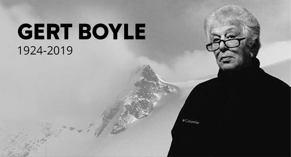 Image of Founder Gert Boyle with mountains in the background.