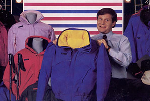 Tim Boyle is pictured holding the first Bugaboo Parka in 1986.